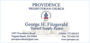 Providence Presbyterian Church business card